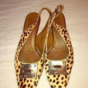 Donald Pliner calf hair heels